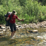 Tobin on the first of many, many stream crossings.