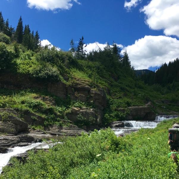 Straight Creek, a small waterfall.