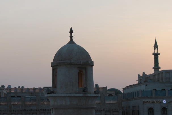 Skyline at dusk with mosques