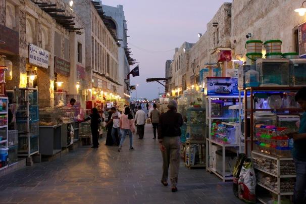 Busy street at dusk